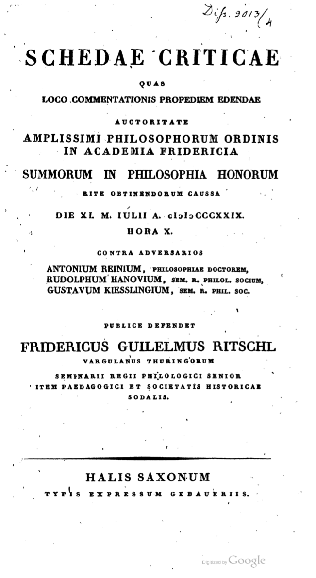 Ritschl's Thesis Title Page